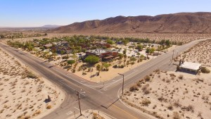 Aerial view of the Palm Canyon Hotel & RV Resort - 2015.