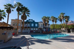 One of 2 pools at the Palm Canyon Hotel & RV Resort
